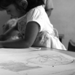 Children progresses through stages of drawing, which are indicators of development.